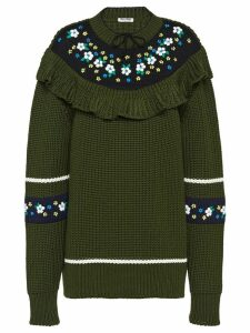 Miu Miu floral ruffled sweater - Green