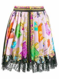 Versace Blonde print lace skirt - Pink