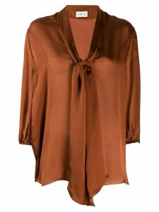 Alexandre Vauthier neck-tie blouse - Brown