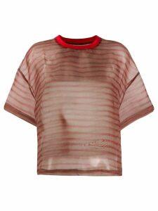 Eckhaus Latta striped sheer top - Red