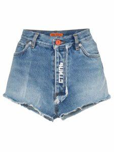 Heron Preston raw denim shorts - Blue