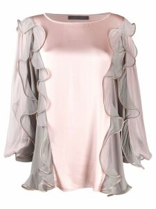 Alberta Ferretti ruffled trim blouse - PINK