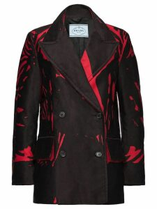 Prada overprint double-breasted coat - Black