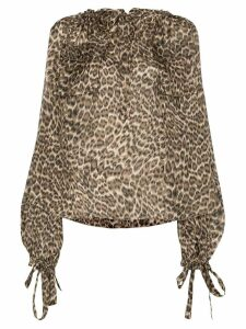 Zimmermann leopard print silk blouse - Brown