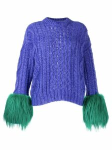 Prada contrasting cuffs knitted sweater - PURPLE