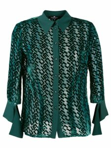 Elisabetta Franchi logo appliqué sheer shirt - Green