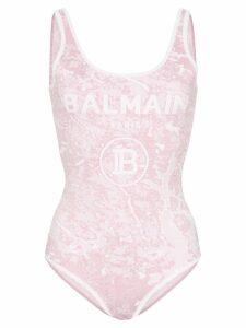 Balmain logo-print knitted body - PINK