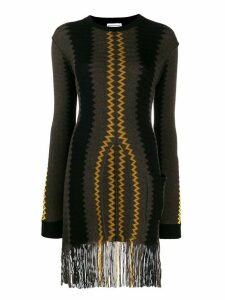 Sonia Rykiel fringed longline sweater - Brown
