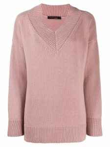 Incentive! Cashmere wide v-neck cashmere sweater - Pink