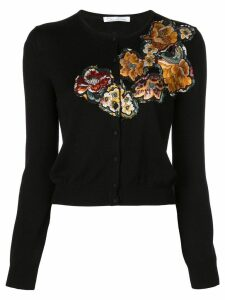 Oscar de la Renta embroidered long sleeve cardigan - Black
