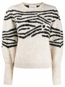 Les Coyotes De Paris stripe intarsia detail sweater - White