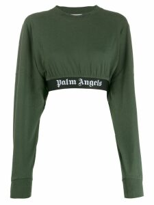 Palm Angels cropped logo sweatshirt - Green