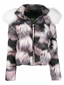 Mr & Mrs Italy fur-print puffer jacket - PINK