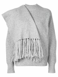 Sacai scarf embellished jumper - Grey