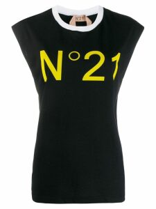 Nº21 contrast logo T-shirt - Black