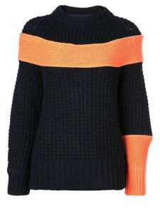 Sacai contrasting panel jumper - Blue