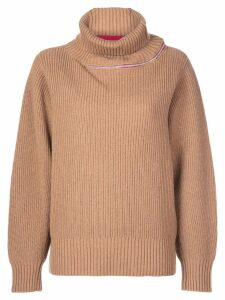 Sacai contrasting stripe turtleneck jumper - Brown