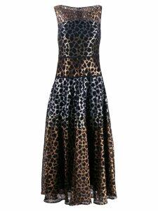 Talbot Runhof leopard lace mix dress - GOLD