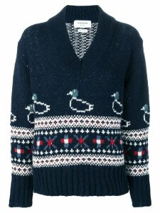 Thom Browne Duck Fair Isle Oversized Pullover - Blue