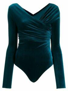 Alexandre Vauthier body-style wrap blouse - Blue