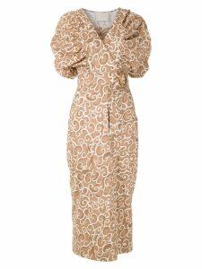 Framed Link midi dress - Brown