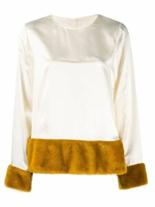 Mm6 Maison Margiela faux fur lined blouse - NEUTRALS