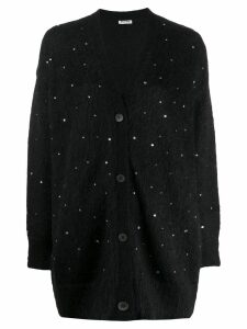 Miu Miu sequin embroidered cardigan - Black