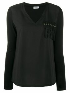 LIU JO fringe-applique T-shirt - Black