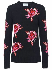 Prada rose motif jumper - Black