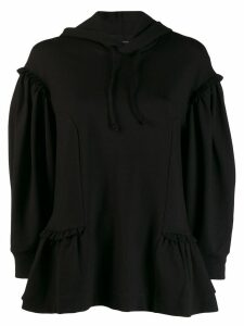 Simone Rocha pleat trim peplum hoodie - Black