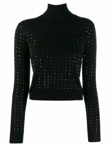 LIU JO studded turtleneck fitted blouse - Black