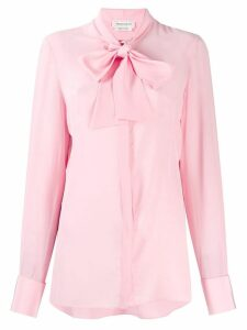 Alexander McQueen pussy bow crepe blouse - PINK