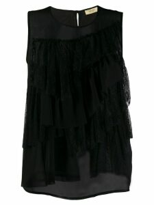 LIU JO sleeveless ruffled blouse - Black