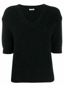 Miu Miu ribbed knit T-shirt - Black
