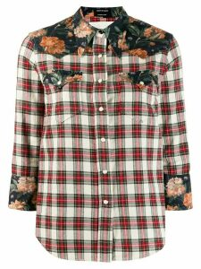 R13 Exaggerated Collar Plaid Cowboy Shirt - NEUTRALS