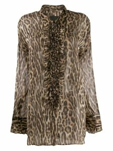 R13 ruffled leopard print blouse - Brown