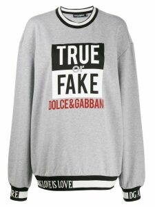 Dolce & Gabbana oversized slogan knit sweater - Grey