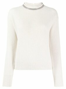 Brunello Cucinelli brass-embellished cashmere jumper - NEUTRALS