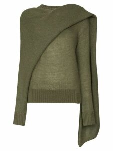 Rejina Pyo draped-scarf knitted sweater - Green