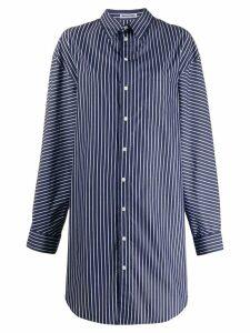 Balenciaga oversized striped pulled shirt dress - Blue