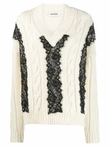 Brognano lace-trim knit sweater - White