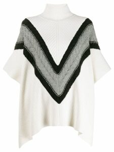 See By Chloé Chevron knit turtleneck cape jumper - White