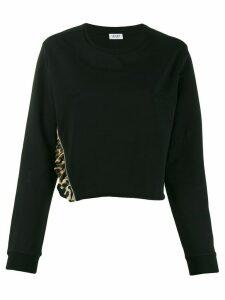 LIU JO leopard frill detail sweatshirt - Black