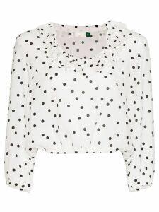 Rixo Alora polka-dot ruffle blouse - White