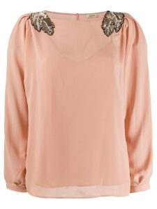 LIU JO bead embroidered top - NEUTRALS