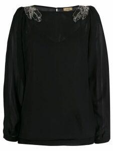 LIU JO sequin embroidered top - Black
