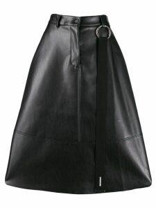 Brognano faux-leather flared skirt - Black