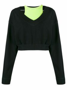 T By Alexander Wang bi-layer V-neck sweatshirt - Black