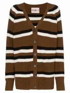Plan C striped oversized cardigan - Brown