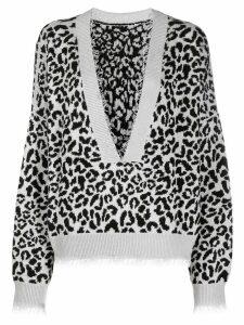 Alanui leopard print jumper - Grey